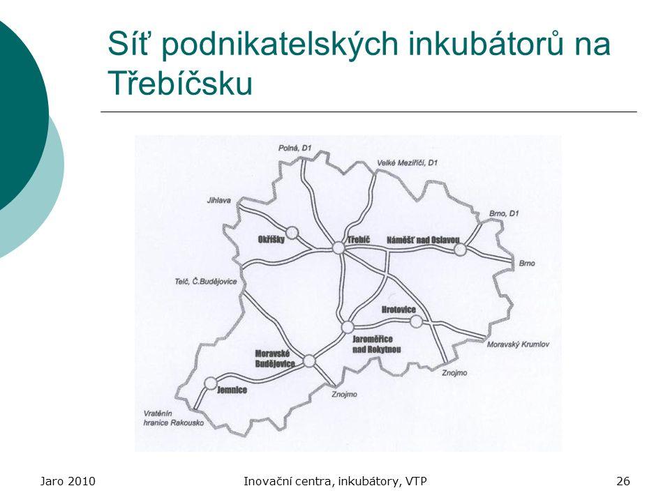 Jaro 2010Inovační centra, inkubátory, VTP26 Síť podnikatelských inkubátorů na Třebíčsku
