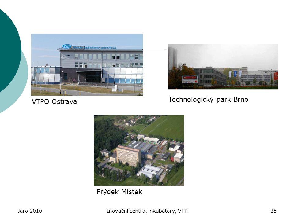 Jaro 2010Inovační centra, inkubátory, VTP35 VTPO Ostrava Technologický park Brno Frýdek-Místek