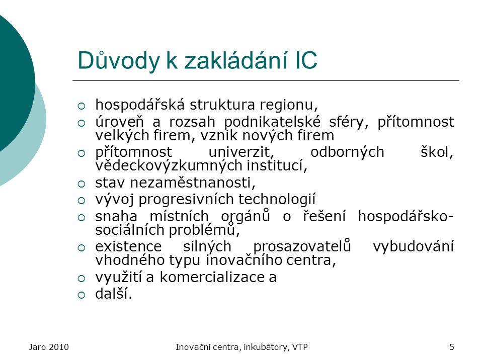 Jaro 2010Inovační centra, inkubátory, VTP5 Důvody k zakládání IC  hospodářská struktura regionu,  úroveň a rozsah podnikatelské sféry, přítomnost ve