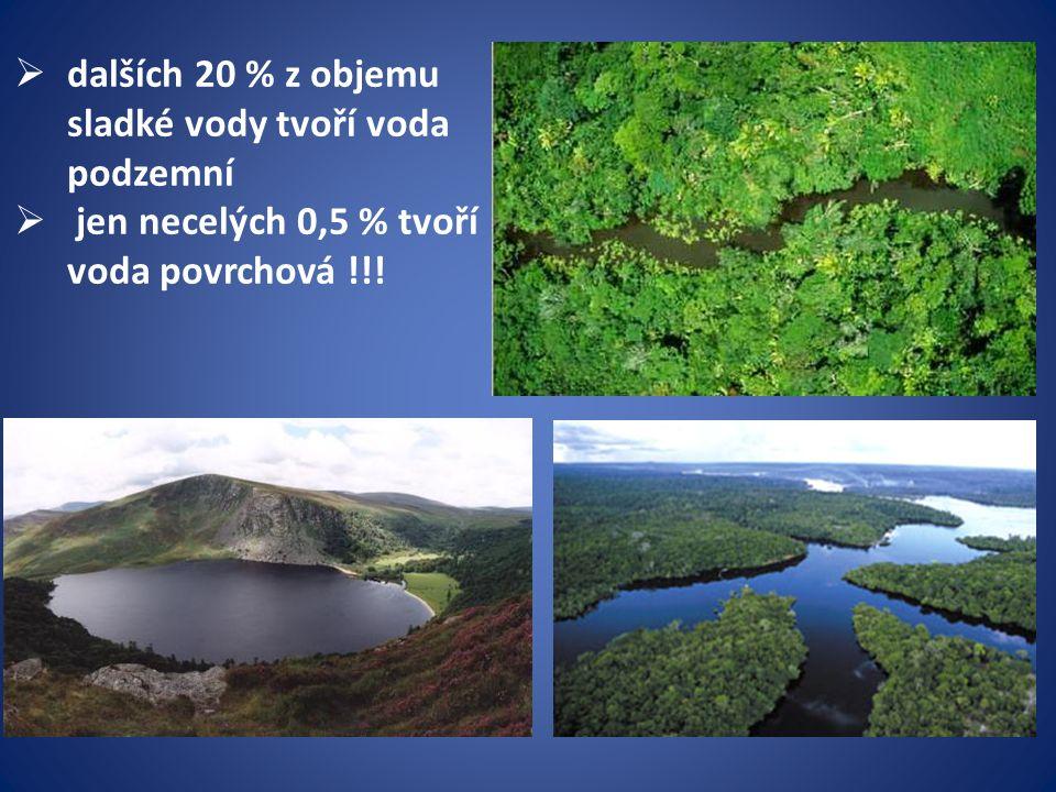  dalších 20 % z objemu sladké vody tvoří voda podzemní  jen necelých 0,5 % tvoří voda povrchová !!!