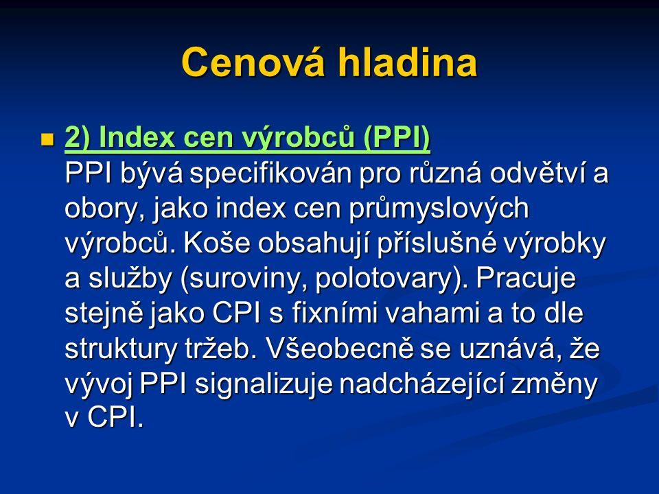 Cenová hladina 3) Deflátor HDP (HNP) 3) Deflátor HDP (HNP) Košem jsou v tomto případě všechny statky, obsažené v daném ukazateli produktu a vahami je podíl daného statku v produktu.