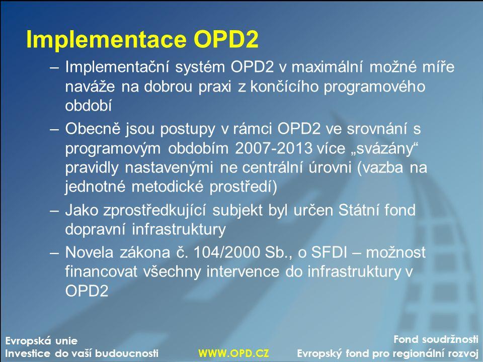 """Fond soudržnosti Evropský fond pro regionální rozvoj Evropská unie Investice do vaší budoucnosti WWW.OPD.CZ Implementace OPD2 –Implementační systém OPD2 v maximální možné míře naváže na dobrou praxi z končícího programového období –Obecně jsou postupy v rámci OPD2 ve srovnání s programovým obdobím 2007-2013 více """"svázány pravidly nastavenými ne centrální úrovni (vazba na jednotné metodické prostředí) –Jako zprostředkující subjekt byl určen Státní fond dopravní infrastruktury –Novela zákona č."""