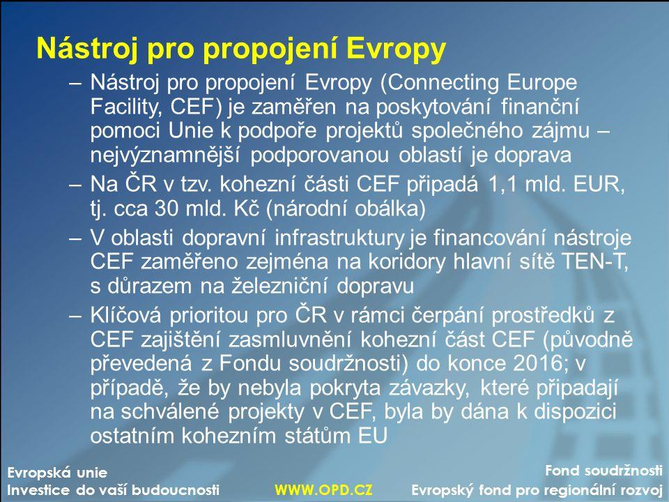 Fond soudržnosti Evropský fond pro regionální rozvoj Evropská unie Investice do vaší budoucnosti WWW.OPD.CZ Nástroj pro propojení Evropy –Nástroj pro propojení Evropy (Connecting Europe Facility, CEF) je zaměřen na poskytování finanční pomoci Unie k podpoře projektů společného zájmu – nejvýznamnější podporovanou oblastí je doprava –Na ČR v tzv.