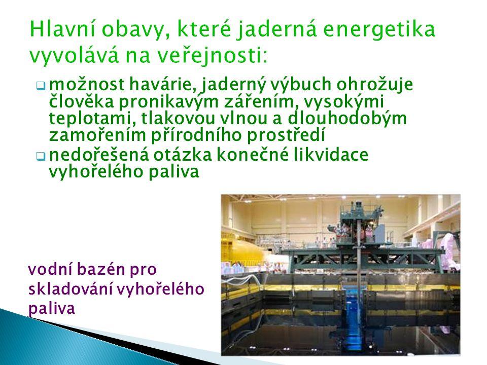  možnost havárie, jaderný výbuch ohrožuje člověka pronikavým zářením, vysokými teplotami, tlakovou vlnou a dlouhodobým zamořením přírodního prostředí  nedořešená otázka konečné likvidace vyhořelého paliva vodní bazén pro skladování vyhořelého paliva