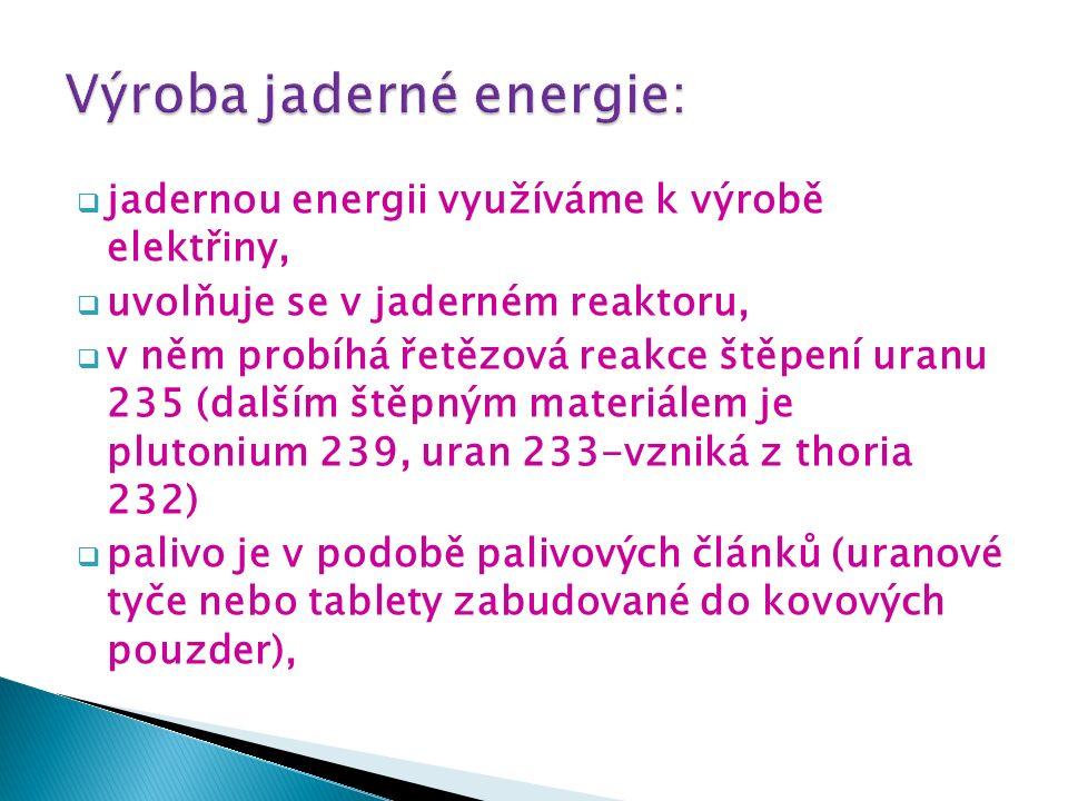  jadernou energii využíváme k výrobě elektřiny,  uvolňuje se v jaderném reaktoru,  v něm probíhá řetězová reakce štěpení uranu 235 (dalším štěpným materiálem je plutonium 239, uran 233-vzniká z thoria 232)  palivo je v podobě palivových článků (uranové tyče nebo tablety zabudované do kovových pouzder),