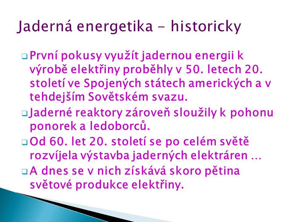  První pokusy využít jadernou energii k výrobě elektřiny proběhly v 50.