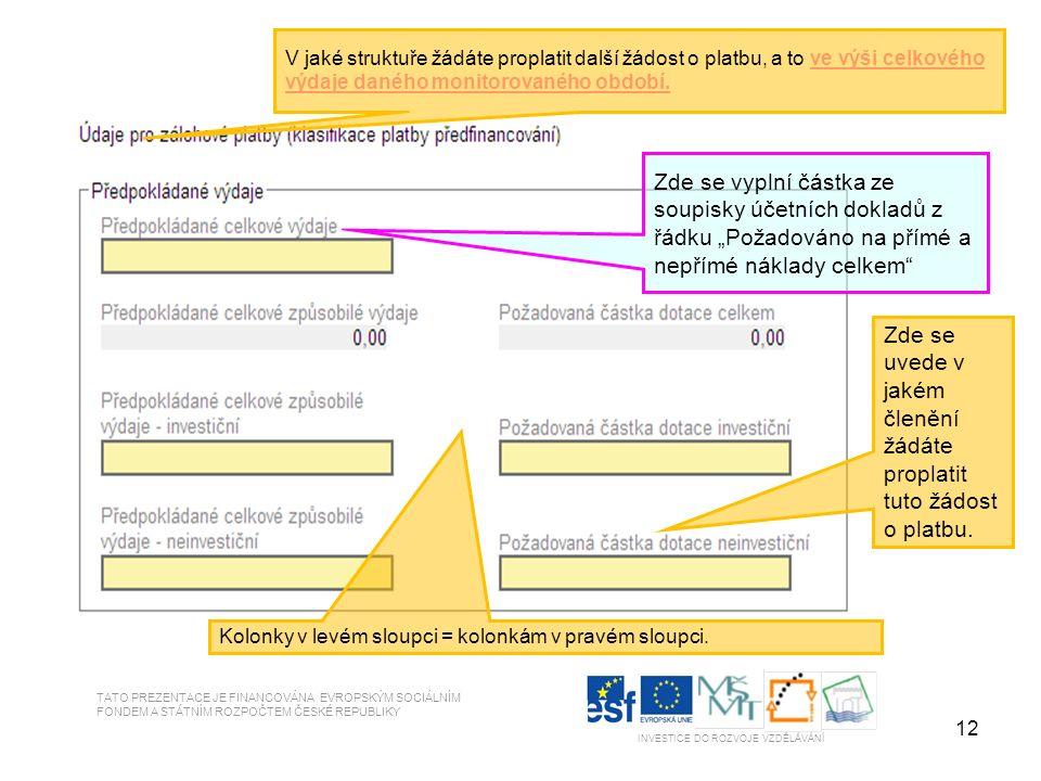 12 TATO PREZENTACE JE FINANCOVÁNA EVROPSKÝM SOCIÁLNÍM FONDEM A STÁTNÍM ROZPOČTEM ČESKÉ REPUBLIKY INVESTICE DO ROZVOJE VZDĚLÁVÁNÍ V jaké struktuře žádáte proplatit další žádost o platbu, a to ve výši celkového výdaje daného monitorovaného období.