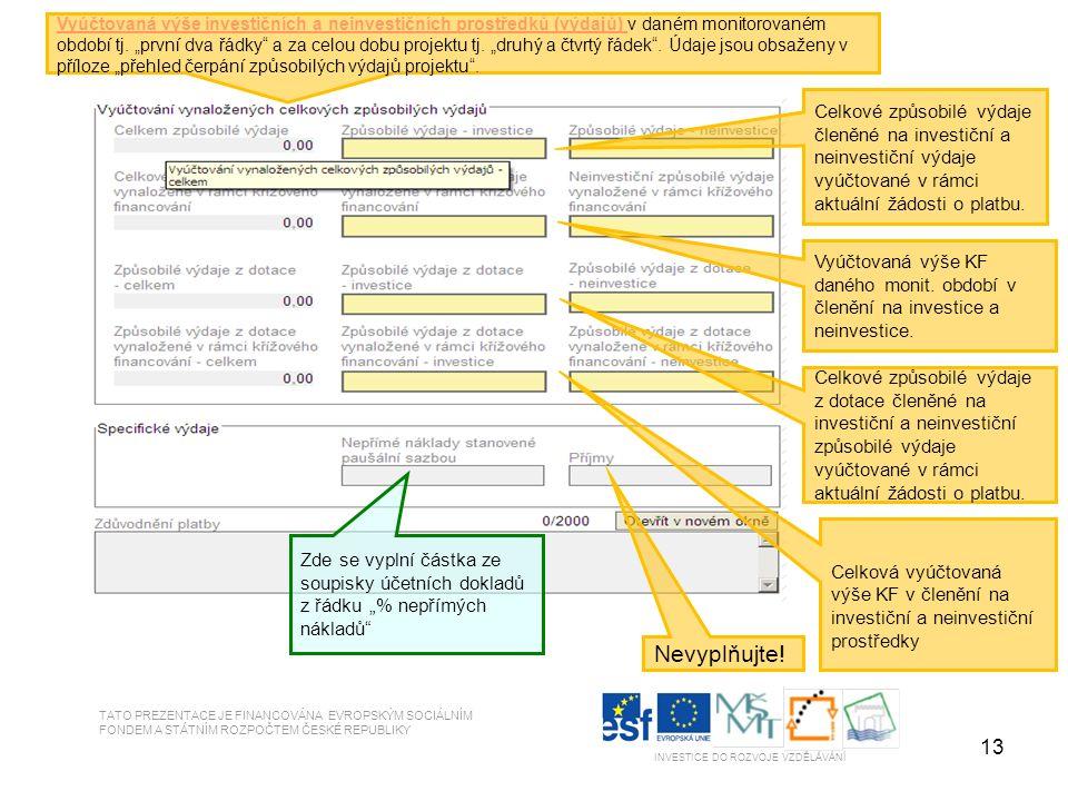 13 TATO PREZENTACE JE FINANCOVÁNA EVROPSKÝM SOCIÁLNÍM FONDEM A STÁTNÍM ROZPOČTEM ČESKÉ REPUBLIKY INVESTICE DO ROZVOJE VZDĚLÁVÁNÍ Vyúčtovaná výše investičních a neinvestičních prostředků (výdajů) v daném monitorovaném období tj.
