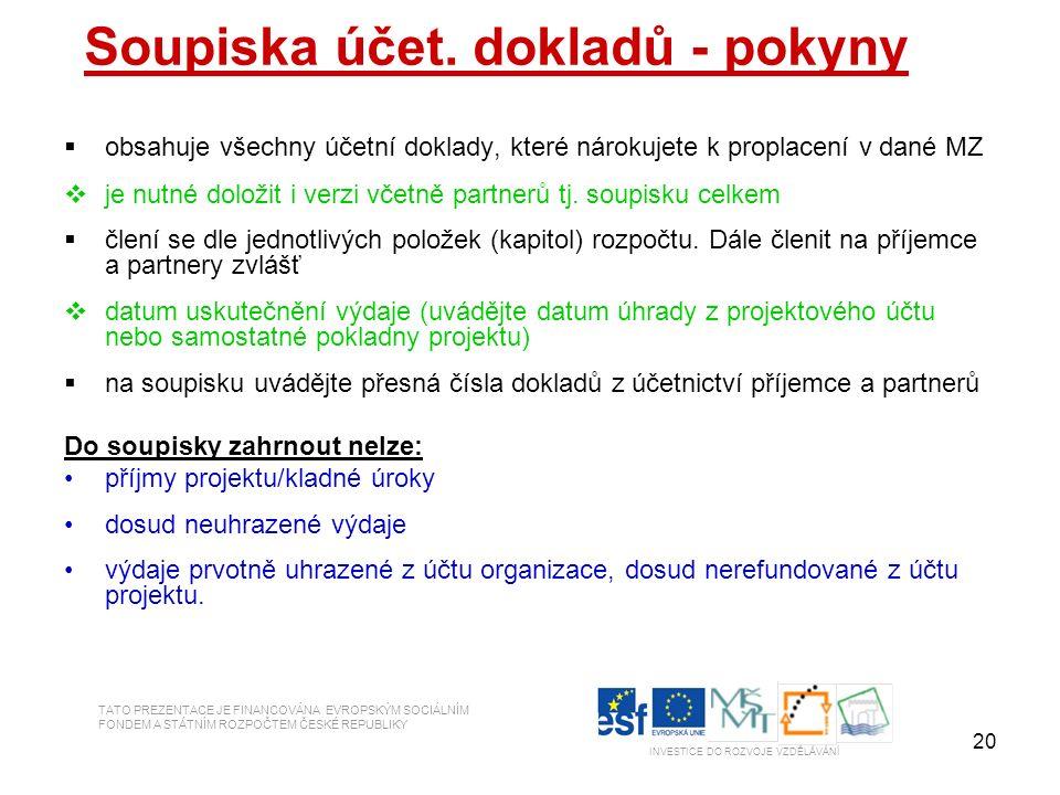 20 TATO PREZENTACE JE FINANCOVÁNA EVROPSKÝM SOCIÁLNÍM FONDEM A STÁTNÍM ROZPOČTEM ČESKÉ REPUBLIKY INVESTICE DO ROZVOJE VZDĚLÁVÁNÍ Soupiska účet. doklad