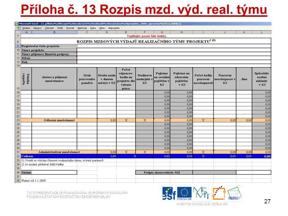 27 Příloha č. 13 Rozpis mzd. výd. real. týmu TATO PREZENTACE JE FINANCOVÁNA EVROPSKÝM SOCIÁLNÍM FONDEM A STÁTNÍM ROZPOČTEM ČESKÉ REPUBLIKY INVESTICE D