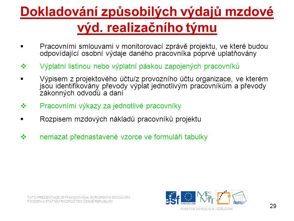 29 Dokladování způsobilých výdajů mzdové výd. realizačního týmu  Pracovními smlouvami v monitorovací zprávě projektu, ve které budou odpovídající oso