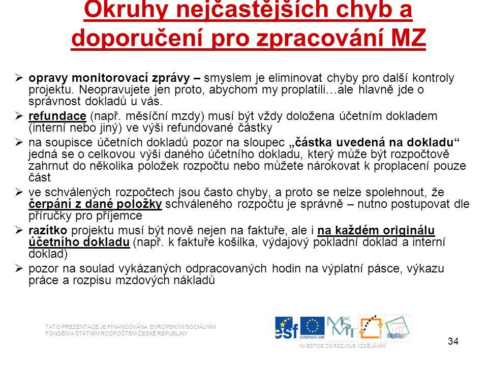 34 Okruhy nejčastějších chyb a doporučení pro zpracování MZ  opravy monitorovací zprávy – smyslem je eliminovat chyby pro další kontroly projektu. Ne