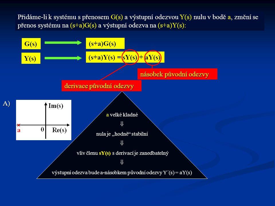 """Přidáme-li k systému s přenosem G(s) a výstupní odezvou Y(s) nulu v bodě a, změní se přenos systému na (s+a)G(s) a výstupní odezva na (s+a)Y(s): G(s) (s+a)G(s) Y(s) (s+a)Y(s) = sY(s) + aY(s) derivace původní odezvy násobek původní odezvy A) a velké kladné  nula je """"hodně stabilní  vliv členu sY(s) s derivací je zanedbatelný vliv členu sY(s) s derivací je zanedbatelný výstupní odezva bude a-násobkem původní odezvy Y´(s) = aY(s)"""