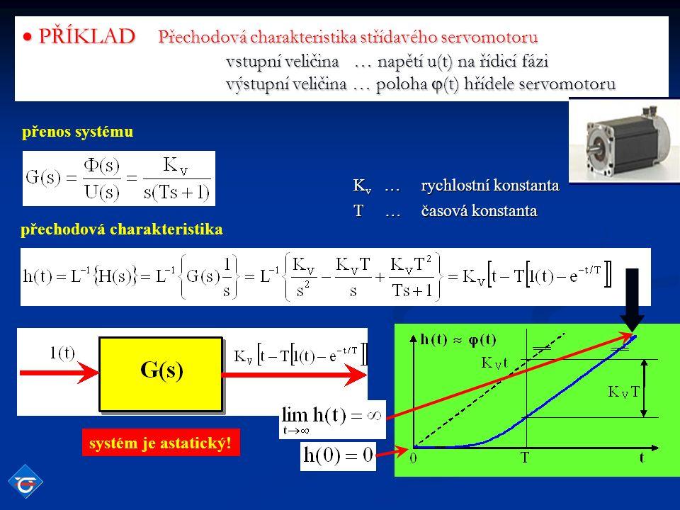 PŘÍKLAD Přechodová charakteristika střídavého servomotoru vstupní veličina … napětí u(t) na řídicí fázi výstupní veličina … poloha  (t) hřídele servomotoru přenos systému přechodová charakteristika K v …rychlostní konstanta T … časová konstanta systém je astatický!