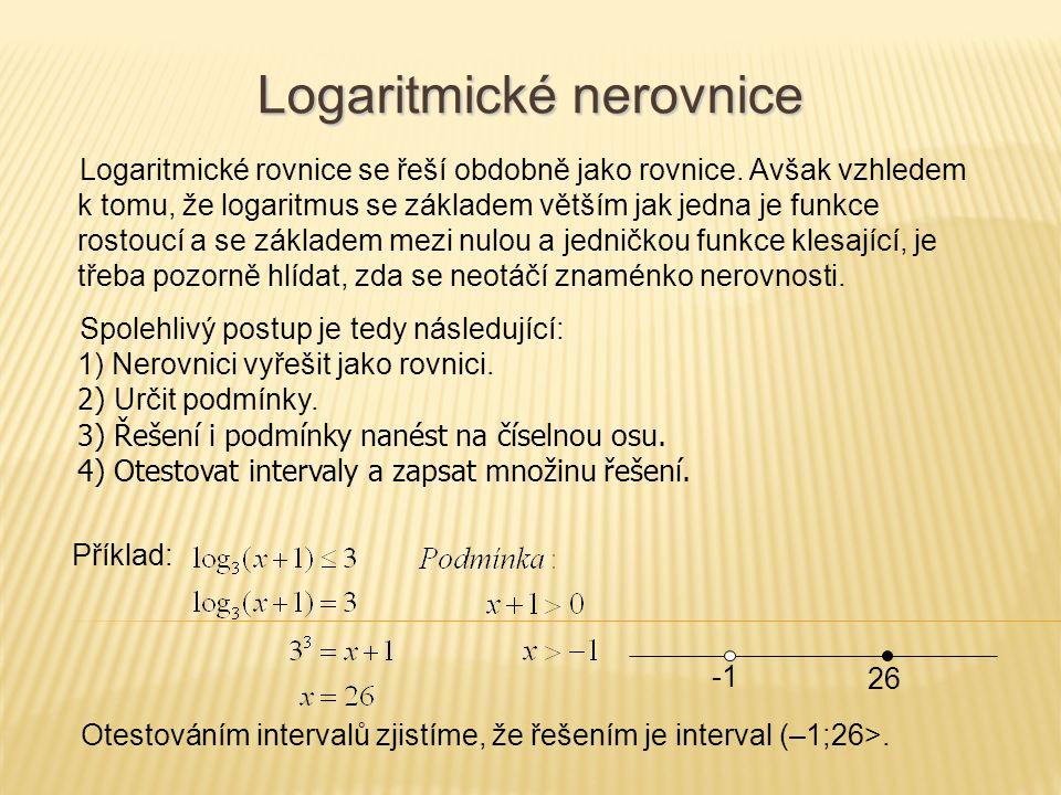 Logaritmické nerovnice Logaritmické rovnice se řeší obdobně jako rovnice. Avšak vzhledem k tomu, že logaritmus se základem větším jak jedna je funkce