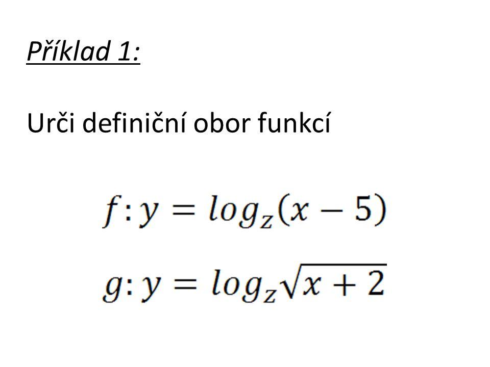 Příklad 1: Urči definiční obor funkcí