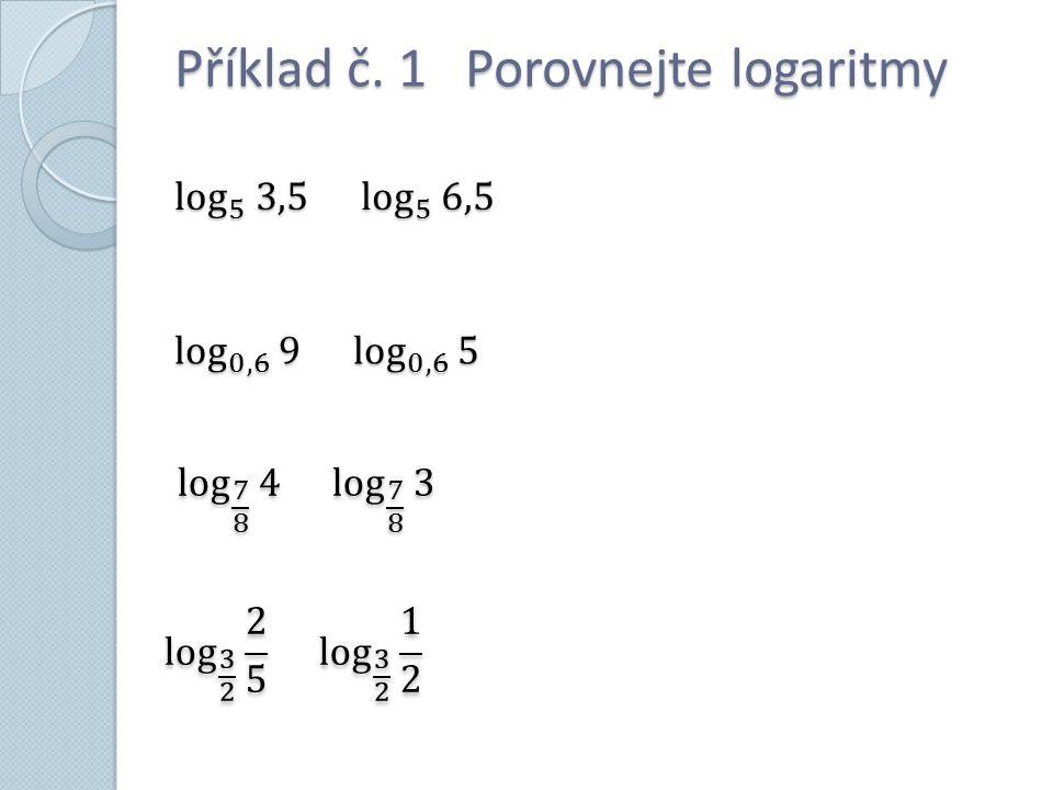 Příklad č. 1 Porovnejte logaritmy