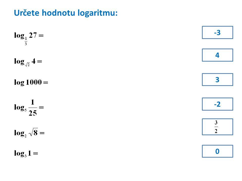 Určete logaritmované číslo: x = 49 x = 64 x = 5 x = 3 x = 1 x =