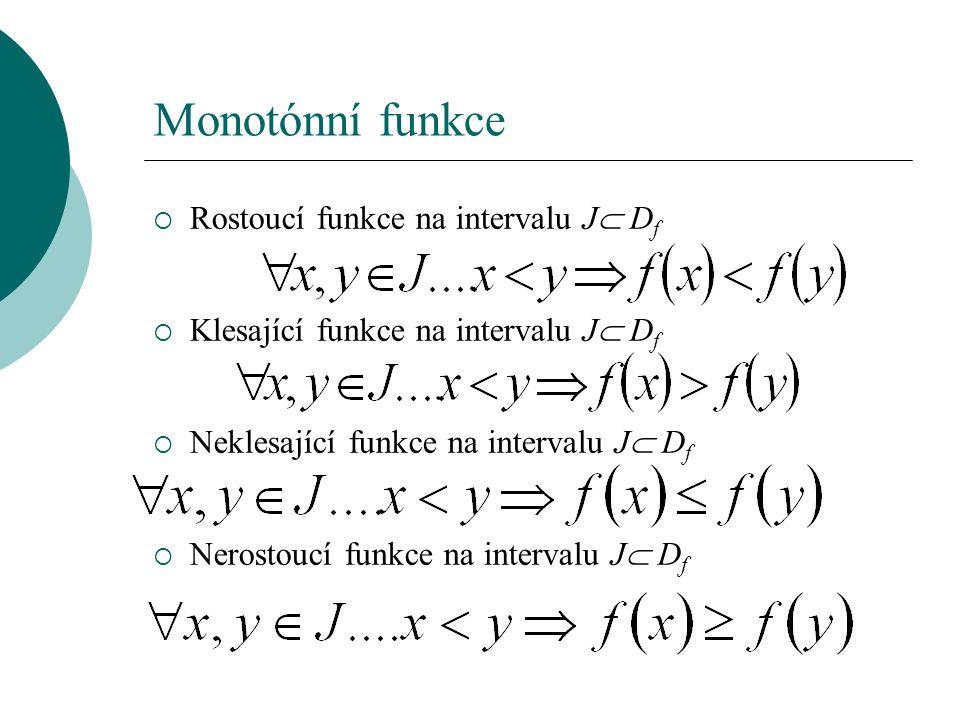 Monotónní funkce  Rostoucí funkce na intervalu J  D f  Klesající funkce na intervalu J  D f  Neklesající funkce na intervalu J  D f  Nerostoucí funkce na intervalu J  D f