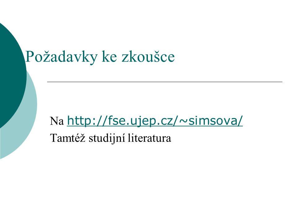 Požadavky ke zkoušce Na http://fse.ujep.cz/~simsova/ http://fse.ujep.cz/~simsova/ Tamtéž studijní literatura