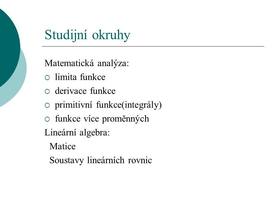 Studijní okruhy Matematická analýza:  limita funkce  derivace funkce  primitivní funkce(integrály)  funkce více proměnných Lineární algebra: Matice Soustavy lineárních rovnic