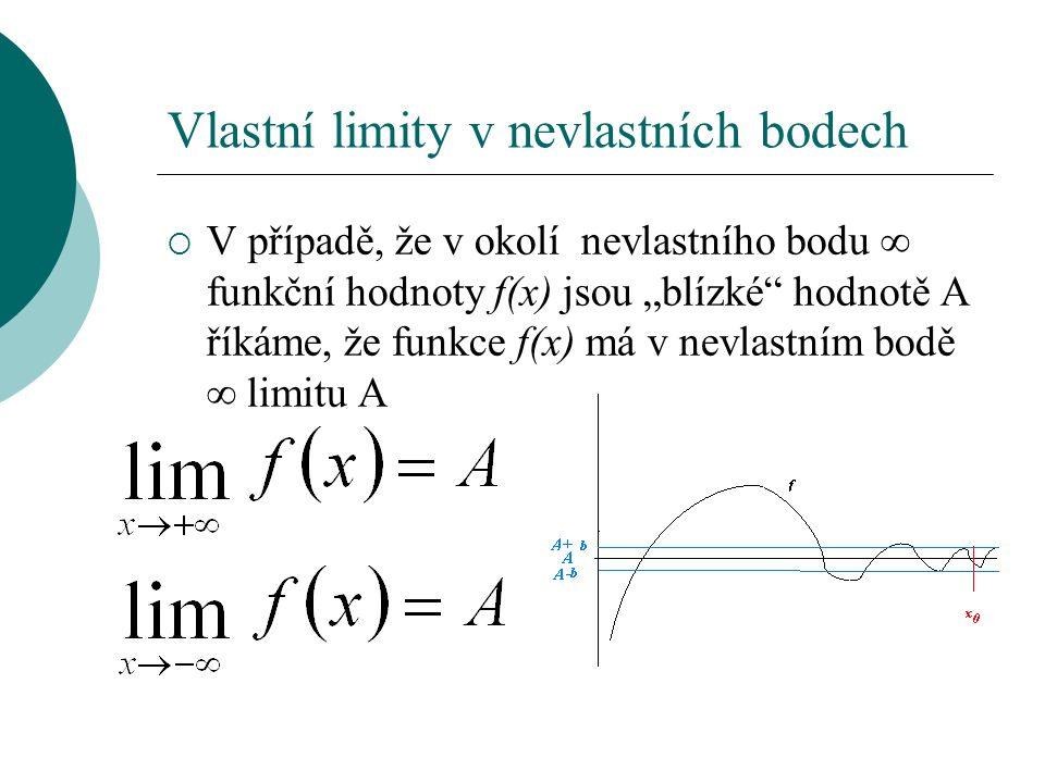 """Vlastní limity v nevlastních bodech  V případě, že v okolí nevlastního bodu ∞ funkční hodnoty f(x) jsou """"blízké hodnotě A říkáme, že funkce f(x) má v nevlastním bodě ∞ limitu A"""