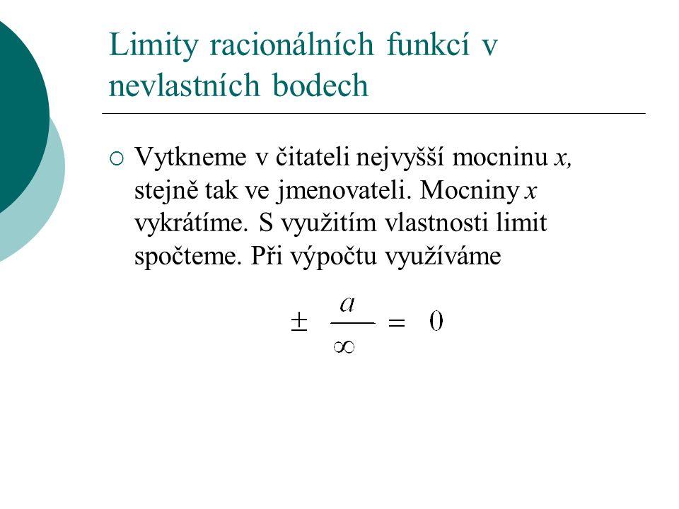 Limity racionálních funkcí v nevlastních bodech  Vytkneme v čitateli nejvyšší mocninu x, stejně tak ve jmenovateli.