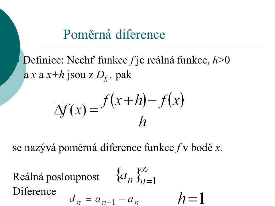 Poměrná diference  Definice: Nechť funkce f je reálná funkce, h>0 a x a x+h jsou z D f,, pak se nazývá poměrná diference funkce f v bodě x.