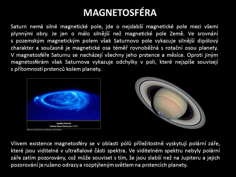 MAGNETOSFÉRA Saturn nemá silné magnetické pole, jde o nejslabší magnetické pole mezi všemi plynnými obry. Je jen o málo silnější než magnetické pole Z