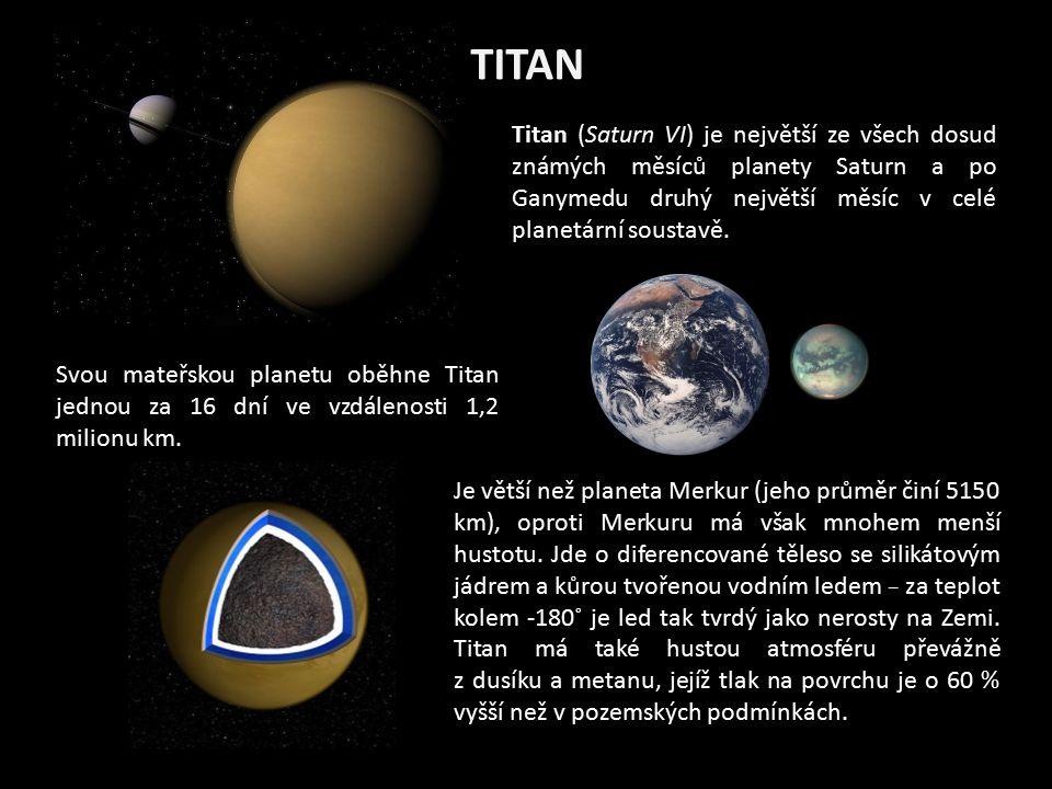 TITAN Titan (Saturn VI) je největší ze všech dosud známých měsíců planety Saturn a po Ganymedu druhý největší měsíc v celé planetární soustavě. Je vět