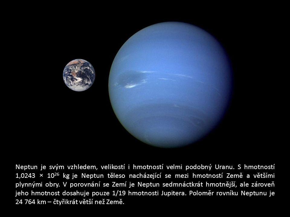 Neptun je svým vzhledem, velikostí i hmotností velmi podobný Uranu. S hmotností 1,0243 × 10 26 kg je Neptun těleso nacházející se mezi hmotností Země
