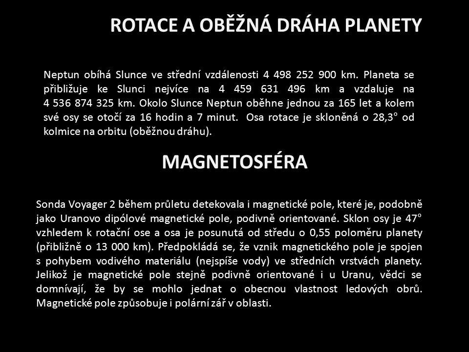 ROTACE A OBĚŽNÁ DRÁHA PLANETY Neptun obíhá Slunce ve střední vzdálenosti 4 498 252 900 km. Planeta se přibližuje ke Slunci nejvíce na 4 459 631 496 km