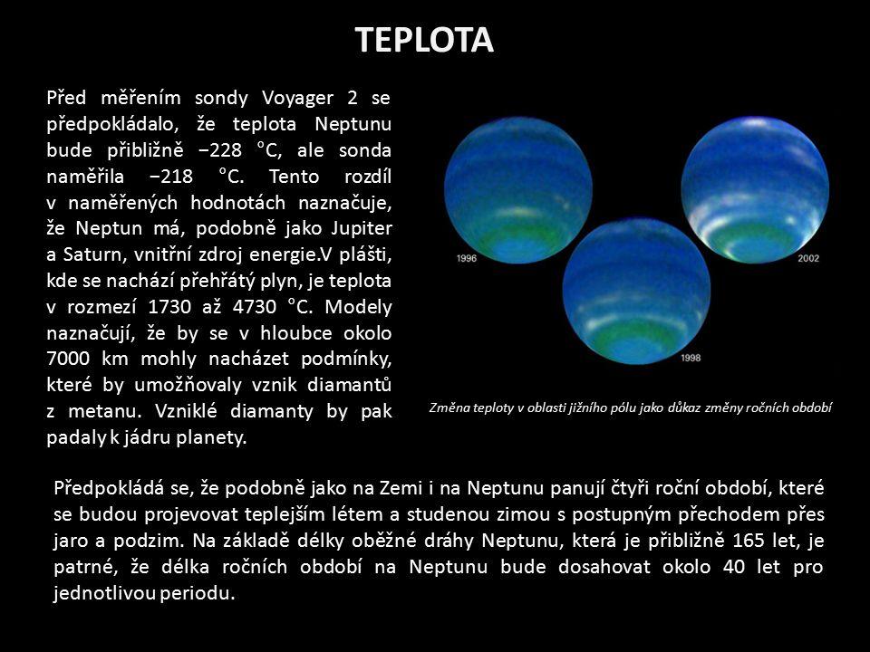 TEPLOTA Před měřením sondy Voyager 2 se předpokládalo, že teplota Neptunu bude přibližně −228 °C, ale sonda naměřila −218 °C. Tento rozdíl v naměřenýc