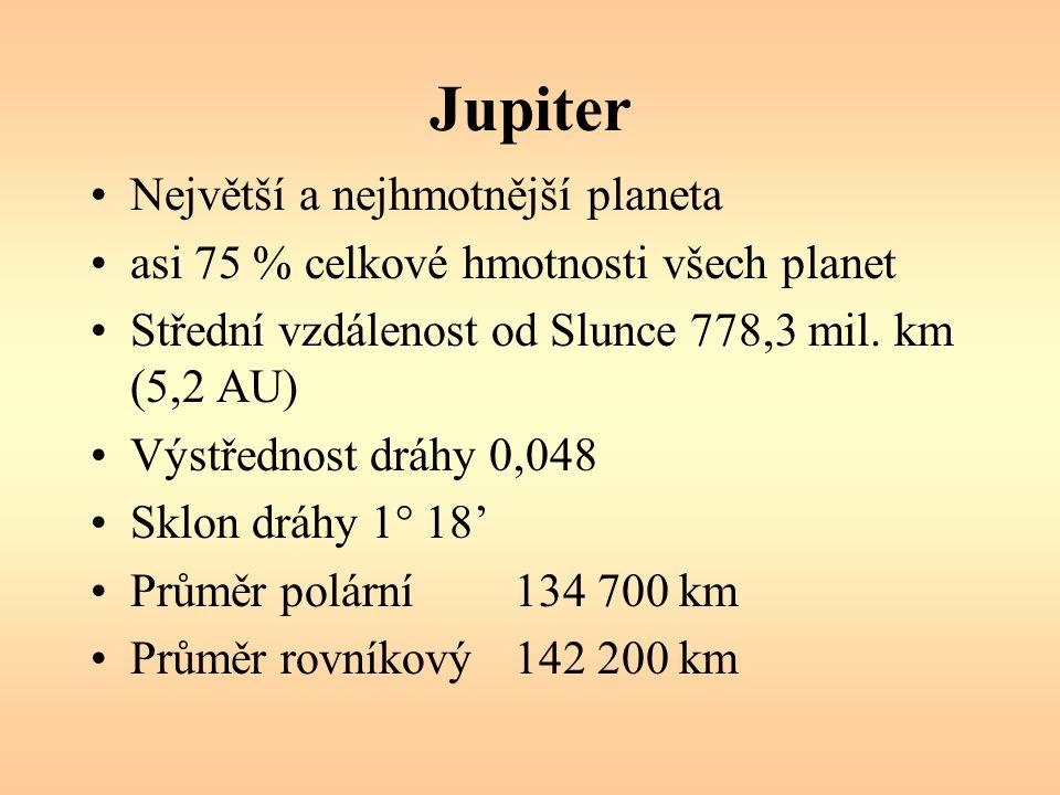 Jupiter Siderická doba oběhu 11,86 roku Synodická doba oběhu 398,9 dne Rotace kolem osy (rovník) 9 hod 50,5 min Sklon rotační osy 3° 7´ Hmotnost 318 hmot.
