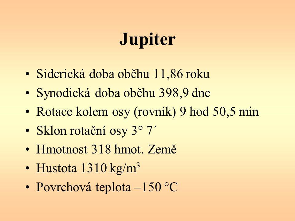 Jupiter – prstenec objeven v roce 1979 sondou Voyager, vzdálenost 130 000 km od Jupiteru, tloušťka 30 km, šířka 6400 km je velmi tenký a je nejlépe vidět v protisvětle (snímky vznikly v době, kdy se sonda Galielo nacházela za Jupiterem a dívala se směrem ke Slunci) tři části prstence: hlavní prstenec (tvoří nejvýraznější oblouk), čočkovitý vnitřní prstenec dosahující až k atmosféře planety, velmi jemný vnější prstenec.