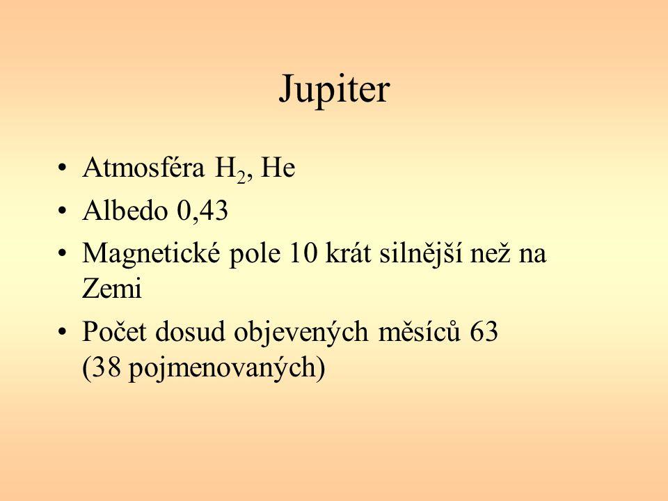 Jupiter Atmosféra H 2, He Albedo 0,43 Magnetické pole 10 krát silnější než na Zemi Počet dosud objevených měsíců 63 (38 pojmenovaných)