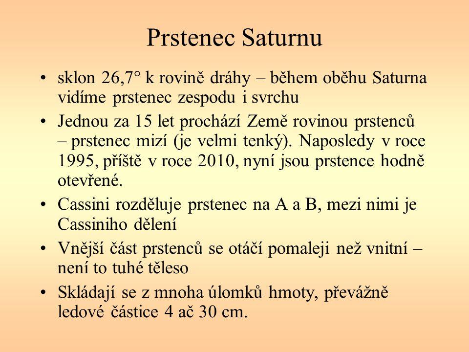 Prstenec Saturnu sklon 26,7° k rovině dráhy – během oběhu Saturna vidíme prstenec zespodu i svrchu Jednou za 15 let prochází Země rovinou prstenců – prstenec mizí (je velmi tenký).
