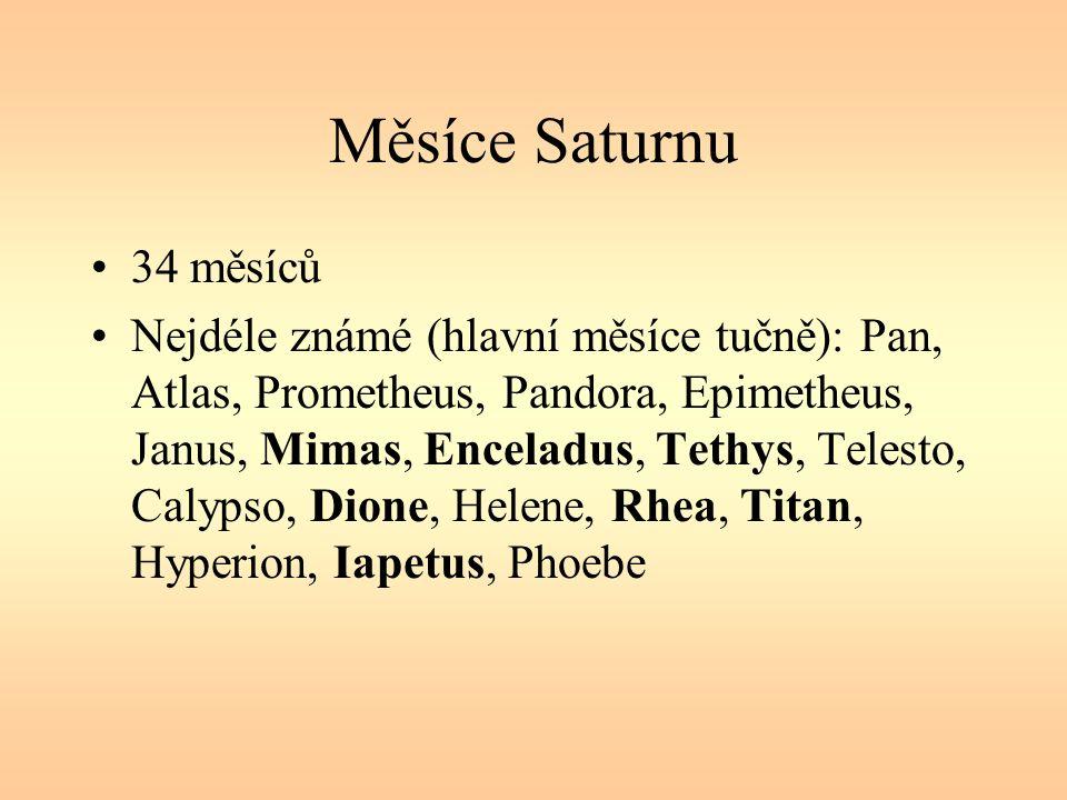 Měsíce Saturnu 34 měsíců Nejdéle známé (hlavní měsíce tučně): Pan, Atlas, Prometheus, Pandora, Epimetheus, Janus, Mimas, Enceladus, Tethys, Telesto, Calypso, Dione, Helene, Rhea, Titan, Hyperion, Iapetus, Phoebe
