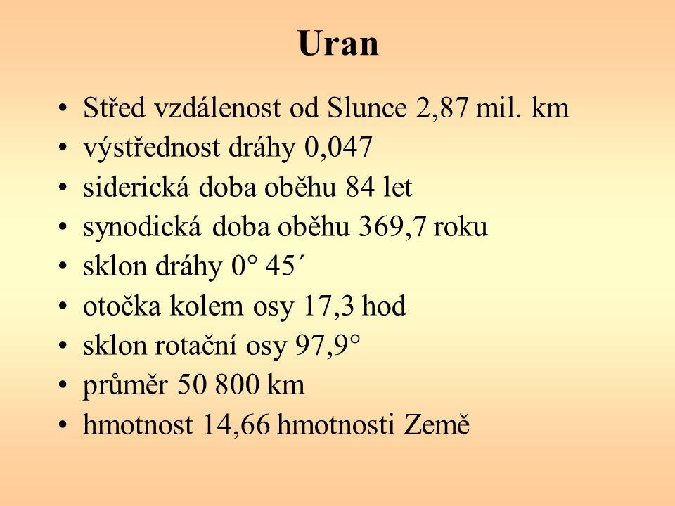 Uran Střed vzdálenost od Slunce 2,87 mil.