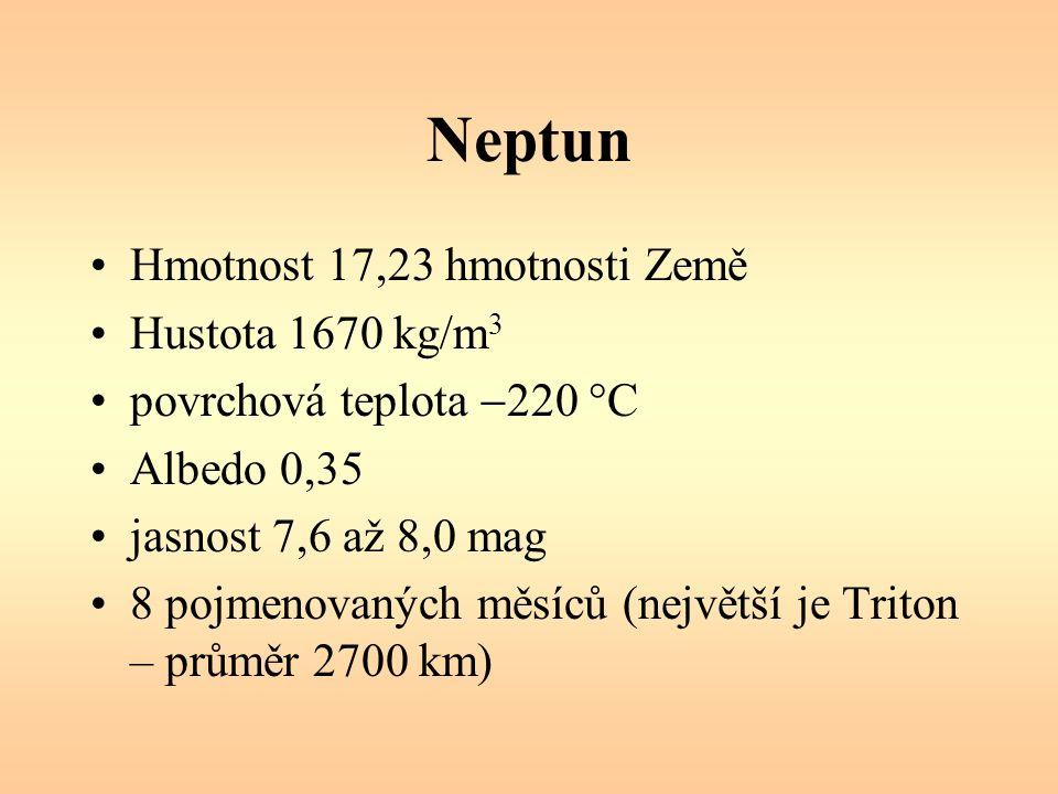 Hmotnost 17,23 hmotnosti Země Hustota 1670 kg/m 3 povrchová teplota  220 °C Albedo 0,35 jasnost 7,6 až 8,0 mag 8 pojmenovaných měsíců (největší je Triton – průměr 2700 km)
