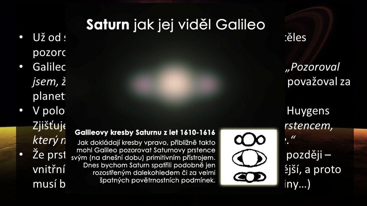 Trocha historie Už od starověku patřila planeta Saturn mezi sedm těles pozorovaných na noční obloze. Galileo Galilei si po pozorování v roce 1610 zaps