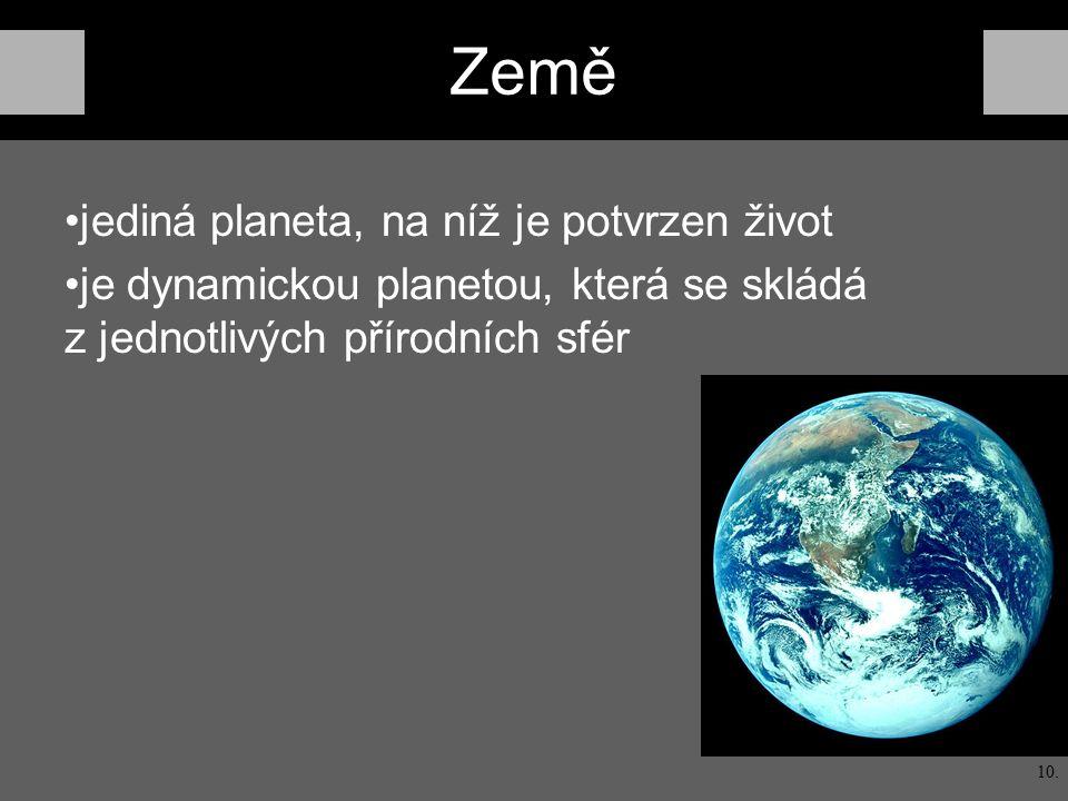 Země jediná planeta, na níž je potvrzen život je dynamickou planetou, která se skládá z jednotlivých přírodních sfér 10.