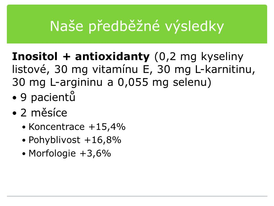 Naše předběžné výsledky Inositol + antioxidanty (0,2 mg kyseliny listové, 30 mg vitamínu E, 30 mg L-karnitinu, 30 mg L-argininu a 0,055 mg selenu) 9 pacientů 2 měsíce Koncentrace +15,4% Pohyblivost +16,8% Morfologie +3,6%