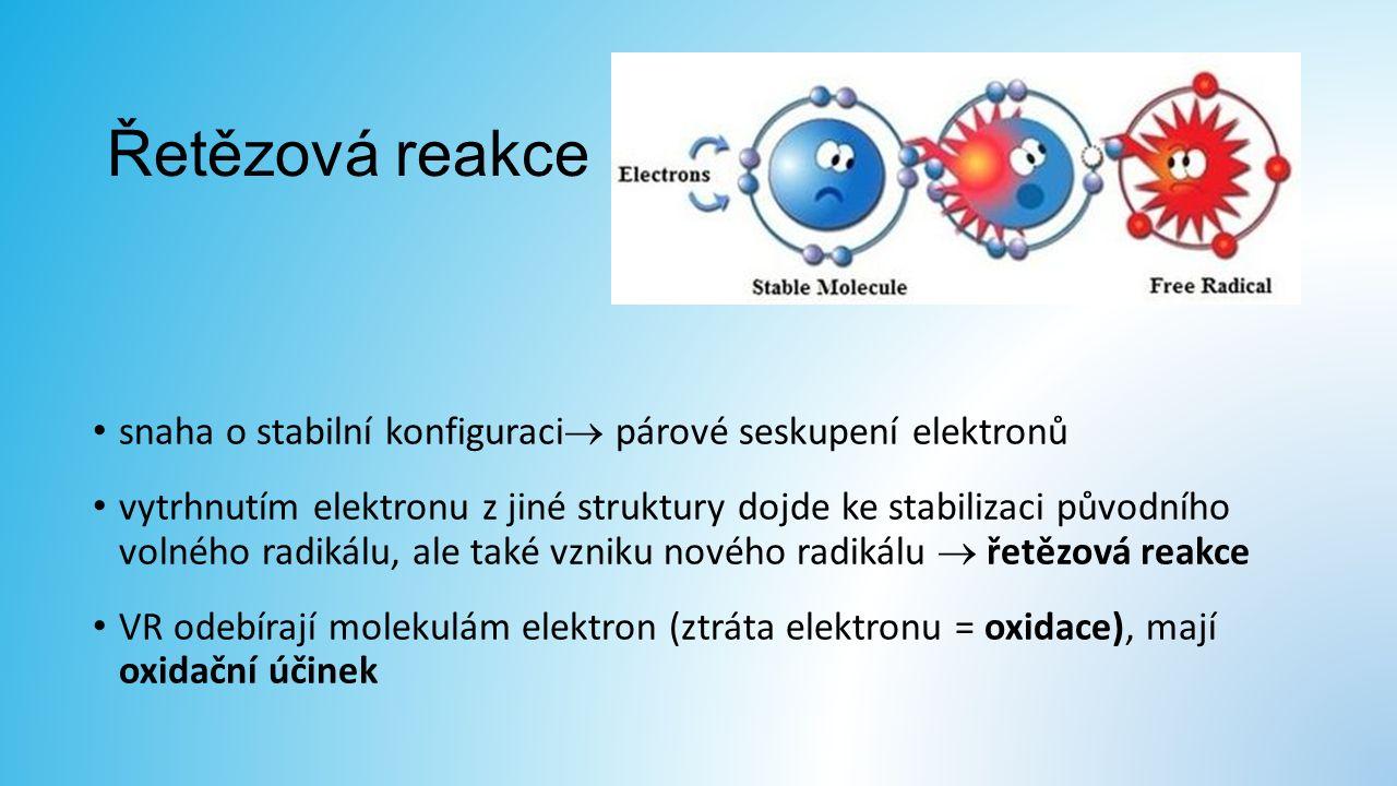 Řetězová reakce snaha o stabilní konfiguraci  párové seskupení elektronů vytrhnutím elektronu z jiné struktury dojde ke stabilizaci původního volného radikálu, ale také vzniku nového radikálu  řetězová reakce VR odebírají molekulám elektron (ztráta elektronu = oxidace), mají oxidační účinek