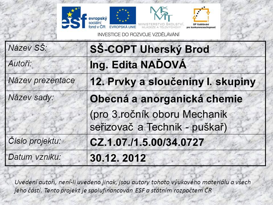 Název SŠ: SŠ-COPT Uherský Brod Autoři: Ing. Edita NAĎOVÁ Název prezentace 12.