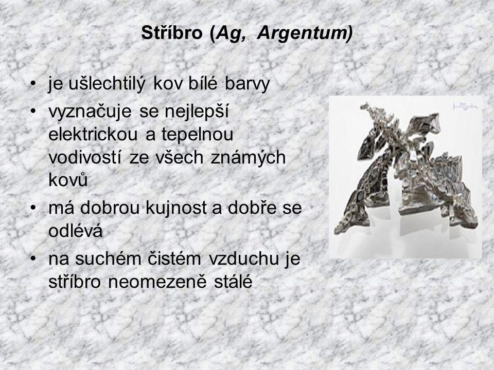 Stříbro (Ag, Argentum) je ušlechtilý kov bílé barvy vyznačuje se nejlepší elektrickou a tepelnou vodivostí ze všech známých kovů má dobrou kujnost a dobře se odlévá na suchém čistém vzduchu je stříbro neomezeně stálé