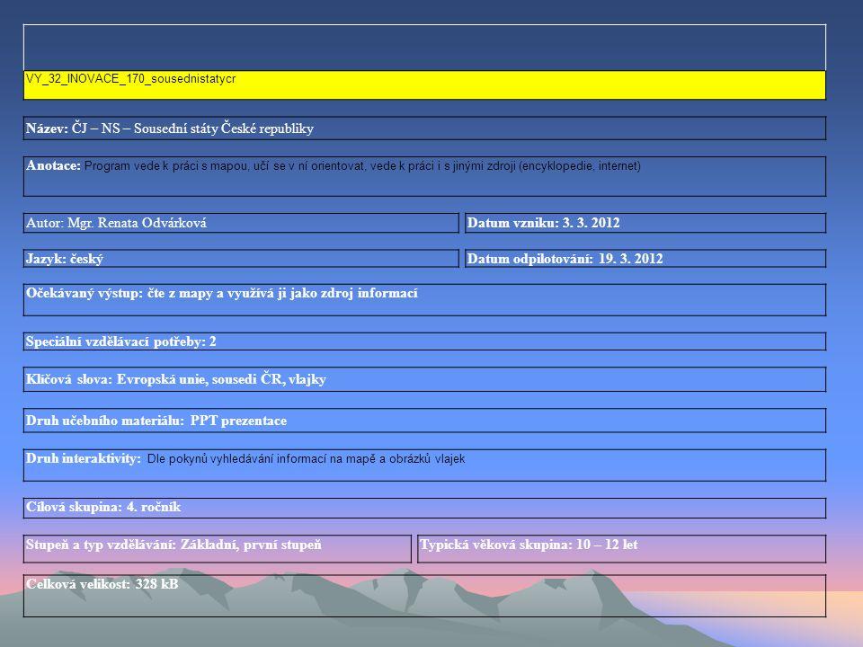 VY_32_INOVACE_170_sousednistatycr Název: ČJ – NS – Sousední státy České republiky Anotace: Program vede k práci s mapou, učí se v ní orientovat, vede k práci i s jinými zdroji (encyklopedie, internet) Autor: Mgr.