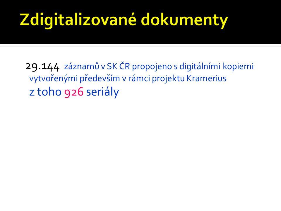 29.144 záznamů v SK ČR propojeno s digitálními kopiemi vytvořenými především v rámci projektu Kramerius z toho 926 seriály