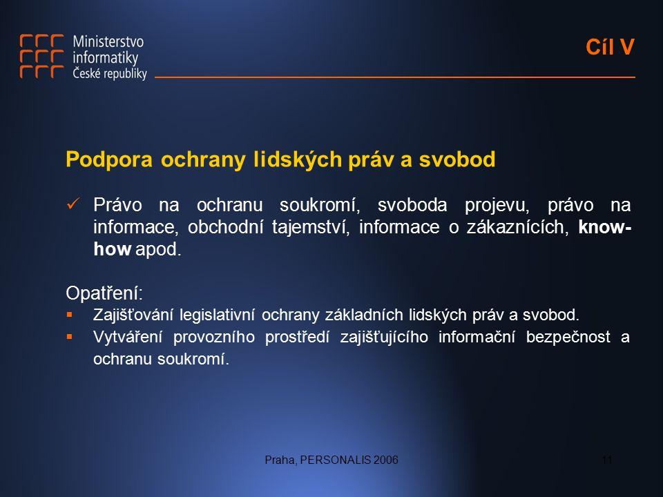 Praha, PERSONALIS 200611 Cíl V Podpora ochrany lidských práv a svobod Právo na ochranu soukromí, svoboda projevu, právo na informace, obchodní tajemství, informace o zákaznících, know- how apod.