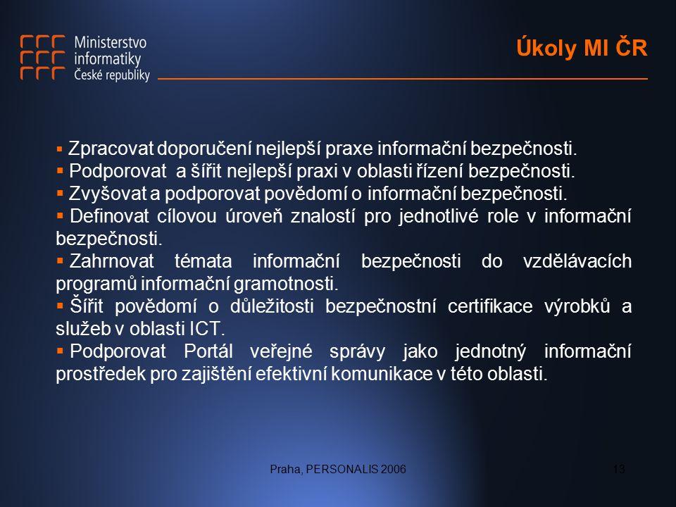 Praha, PERSONALIS 200613 Úkoly MI ČR  Zpracovat doporučení nejlepší praxe informační bezpečnosti.
